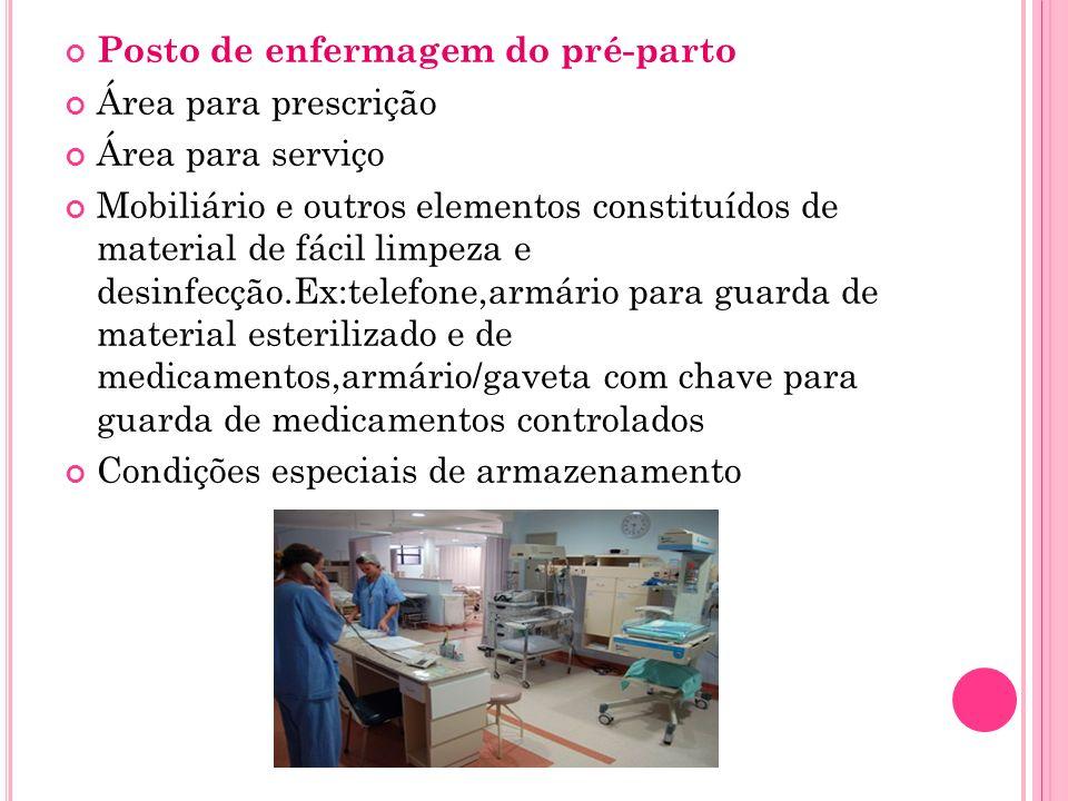 Posto de enfermagem do pré-parto Área para prescrição Área para serviço Mobiliário e outros elementos constituídos de material de fácil limpeza e desi