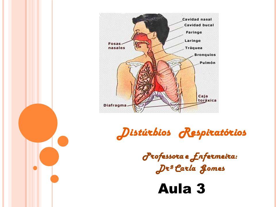 Distúrbios Respiratórios Professora e Enfermeira: Drª Carla Gomes Aula 3