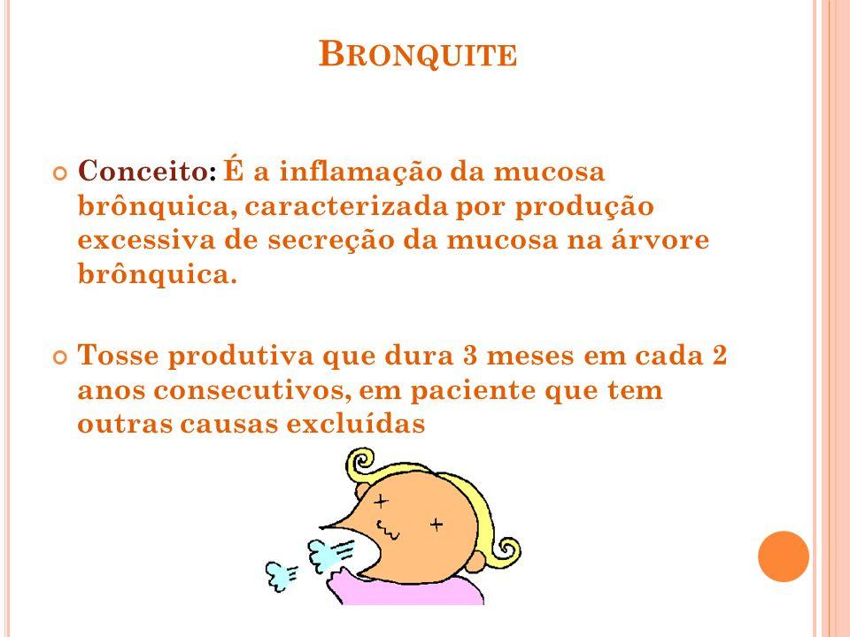 B RONQUITE Conceito: É a inflamação da mucosa brônquica, caracterizada por produção excessiva de secreção da mucosa na árvore brônquica. Tosse produti