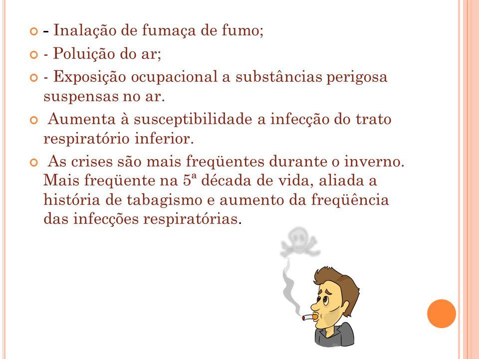 - Inalação de fumaça de fumo; - Poluição do ar; - Exposição ocupacional a substâncias perigosa suspensas no ar. Aumenta à susceptibilidade a infecção