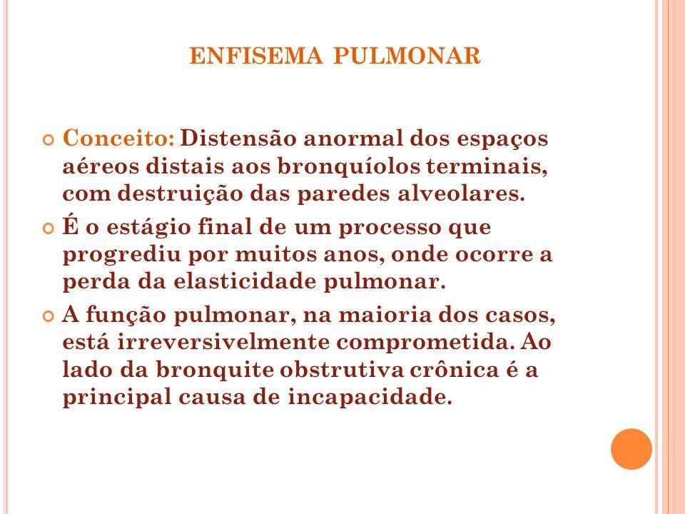 ENFISEMA PULMONAR Conceito: Distensão anormal dos espaços aéreos distais aos bronquíolos terminais, com destruição das paredes alveolares. É o estágio