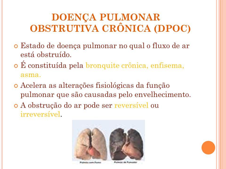 DOENÇA PULMONAR OBSTRUTIVA CRÔNICA (DPOC) Estado de doença pulmonar no qual o fluxo de ar está obstruído. É constituída pela bronquite crônica, enfise