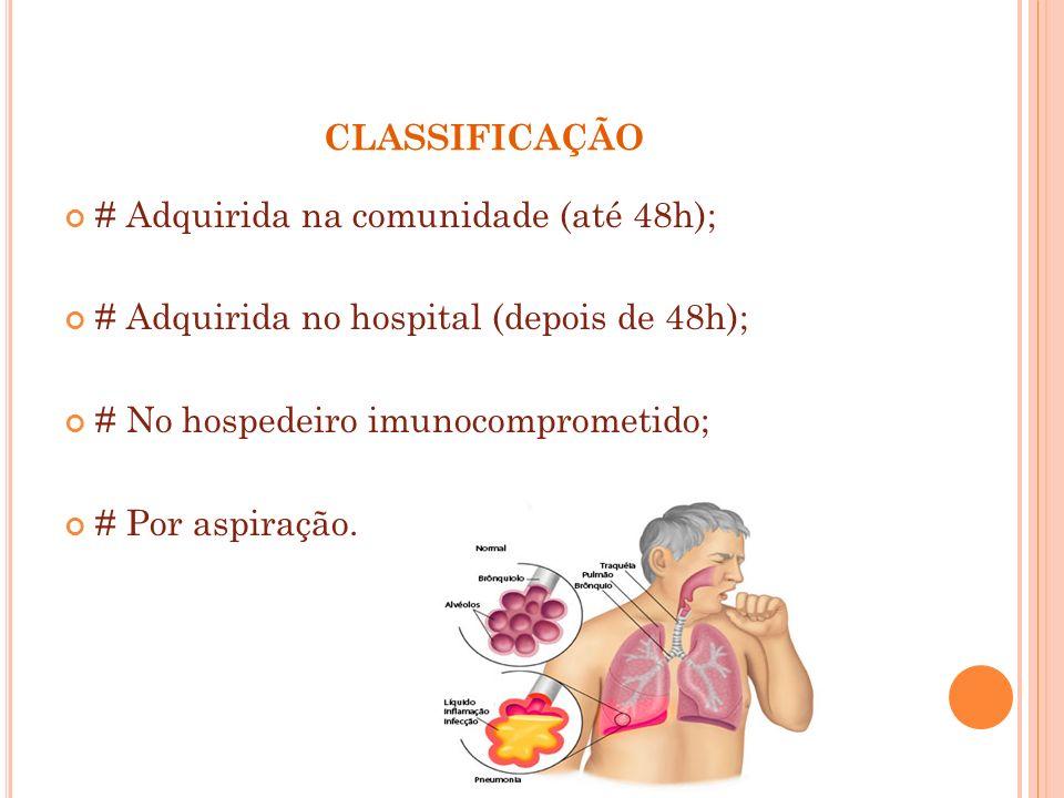 CLASSIFICAÇÃO # Adquirida na comunidade (até 48h); # Adquirida no hospital (depois de 48h); # No hospedeiro imunocomprometido; # Por aspiração.