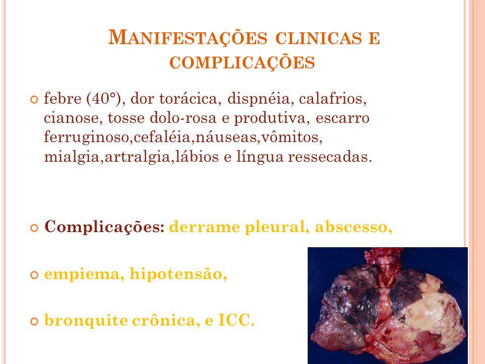 M ANIFESTAÇÕES CLINICAS E COMPLICAÇÕES febre (40°), dor torácica, dispnéia, calafrios, cianose, tosse dolo-rosa e produtiva, escarro ferruginoso,cefal