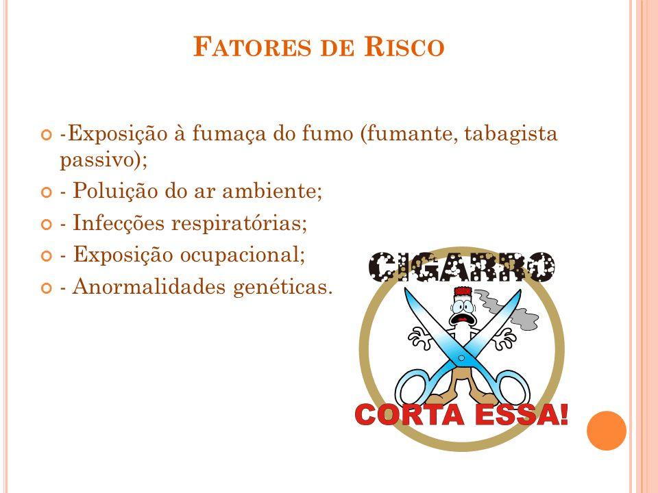 F ATORES DE R ISCO -Exposição à fumaça do fumo (fumante, tabagista passivo); - Poluição do ar ambiente; - Infecções respiratórias; - Exposição ocupaci