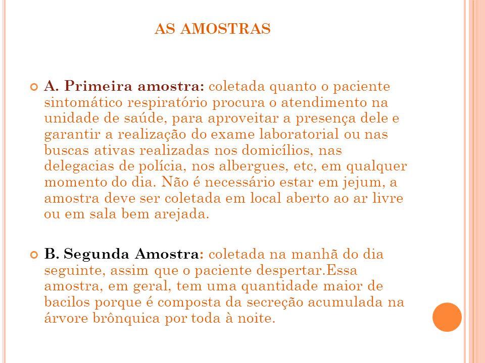AS AMOSTRAS A. Primeira amostra: coletada quanto o paciente sintomático respiratório procura o atendimento na unidade de saúde, para aproveitar a pres