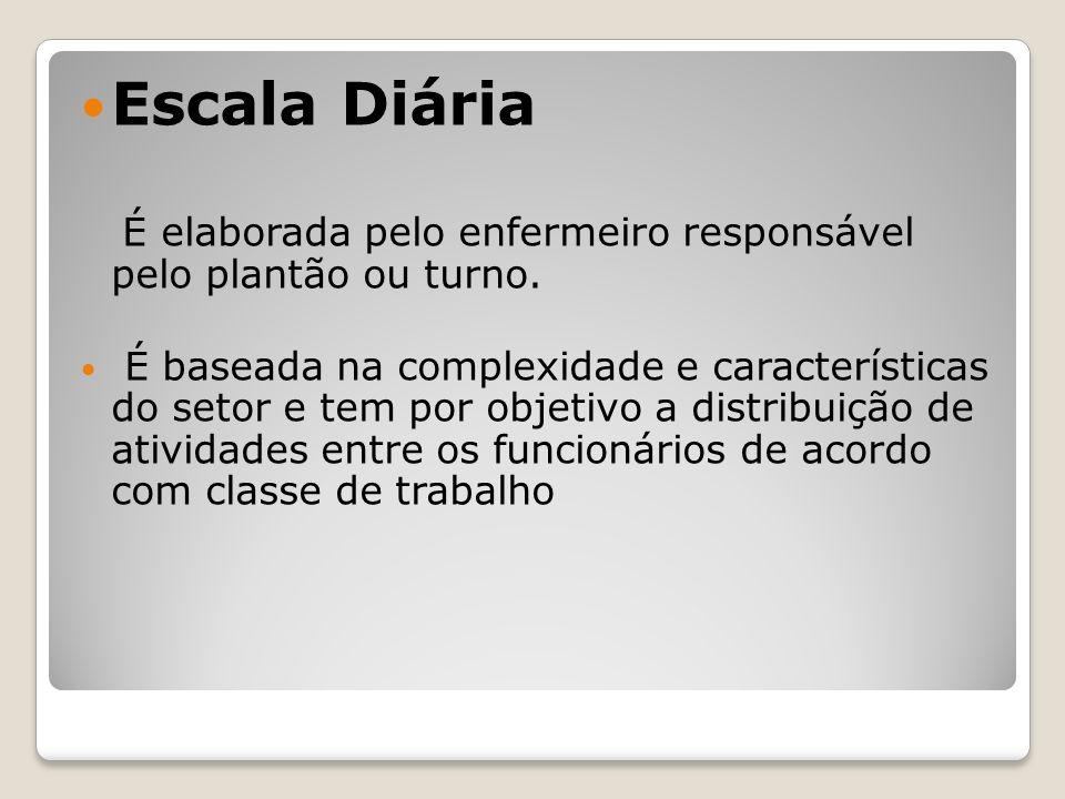 Escala Diária É elaborada pelo enfermeiro responsável pelo plantão ou turno.