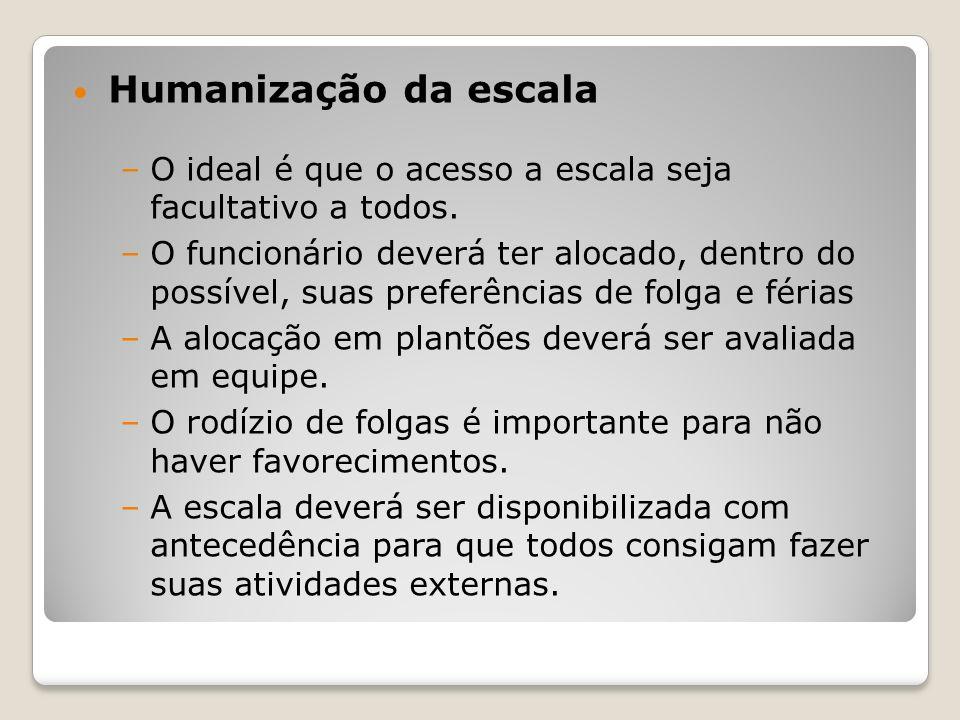 Humanização da escala –O ideal é que o acesso a escala seja facultativo a todos.