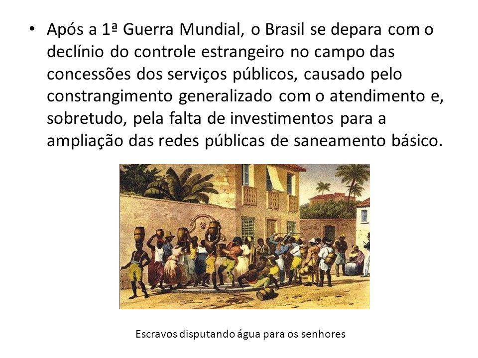 Após a 1ª Guerra Mundial, o Brasil se depara com o declínio do controle estrangeiro no campo das concessões dos serviços públicos, causado pelo constr