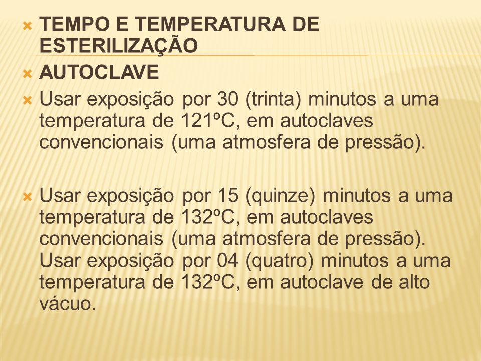 TEMPO E TEMPERATURA DE ESTERILIZAÇÃO AUTOCLAVE Usar exposição por 30 (trinta) minutos a uma temperatura de 121ºC, em autoclaves convencionais (uma atm