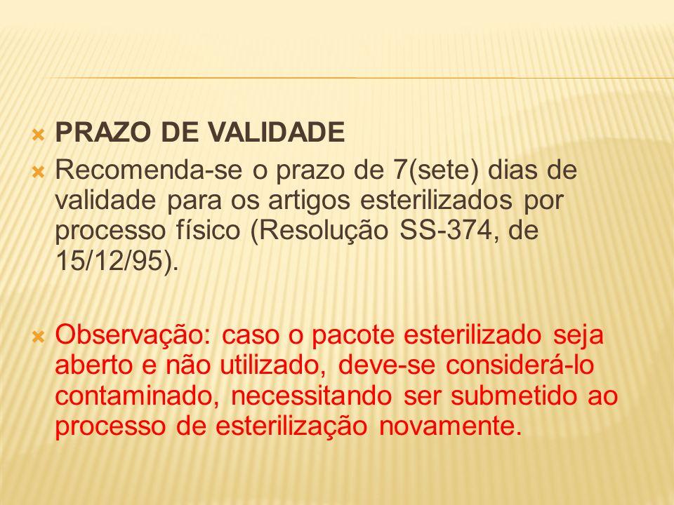 PRAZO DE VALIDADE Recomenda-se o prazo de 7(sete) dias de validade para os artigos esterilizados por processo físico (Resolução SS-374, de 15/12/95).