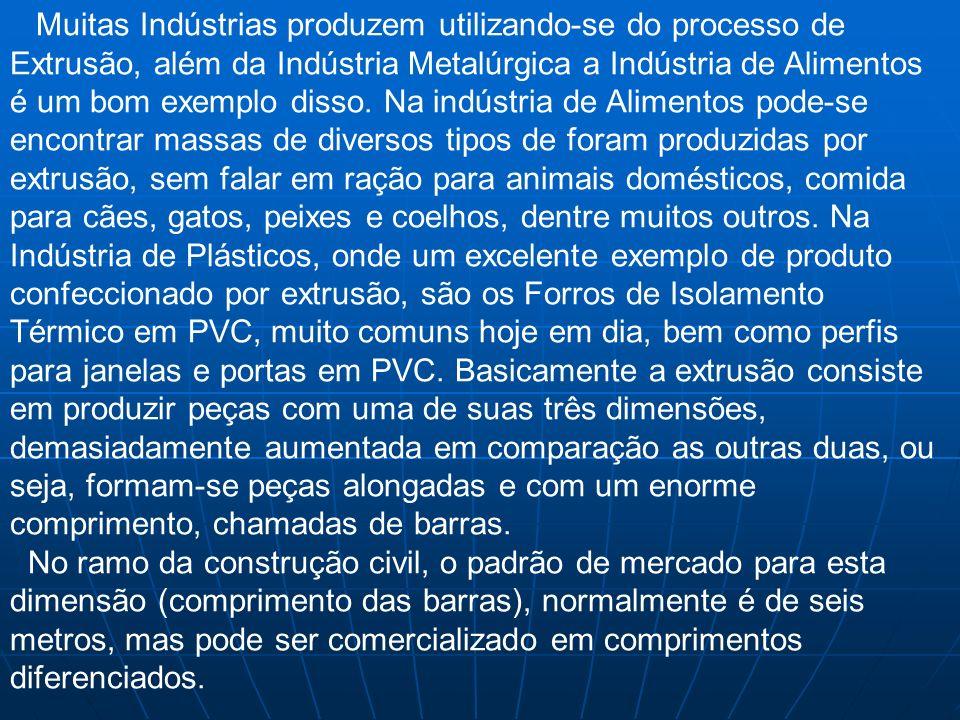 Muitas Indústrias produzem utilizando-se do processo de Extrusão, além da Indústria Metalúrgica a Indústria de Alimentos é um bom exemplo disso. Na in