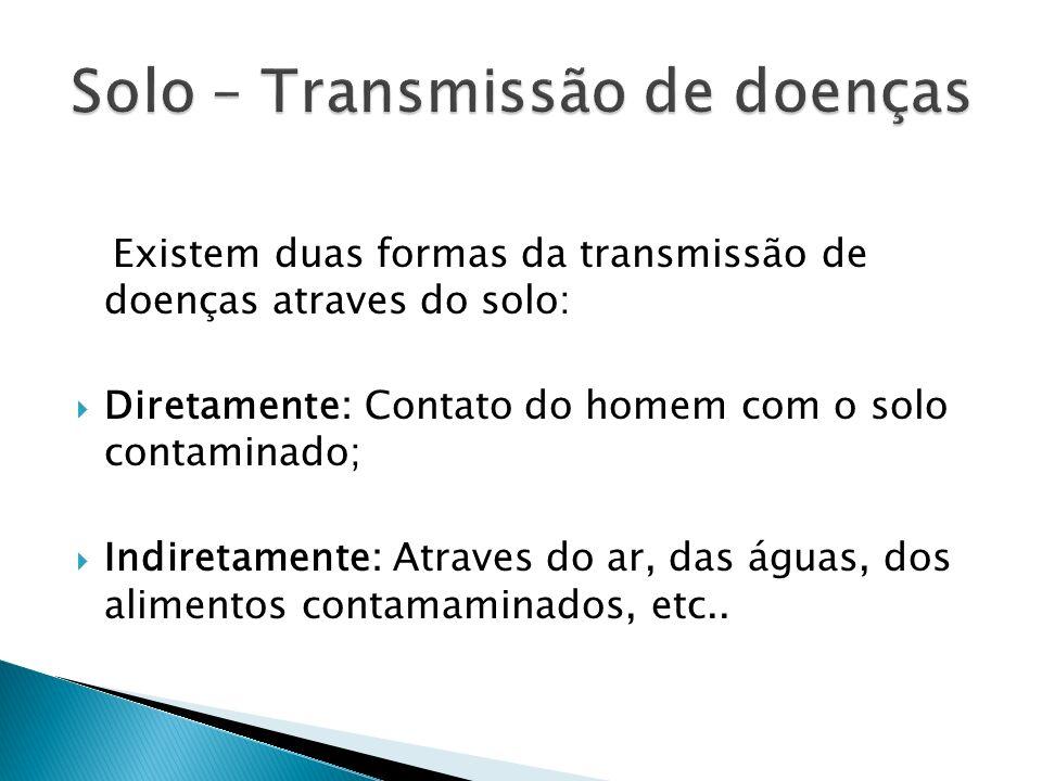 Existem duas formas da transmissão de doenças atraves do solo: Diretamente: Contato do homem com o solo contaminado; Indiretamente: Atraves do ar, das
