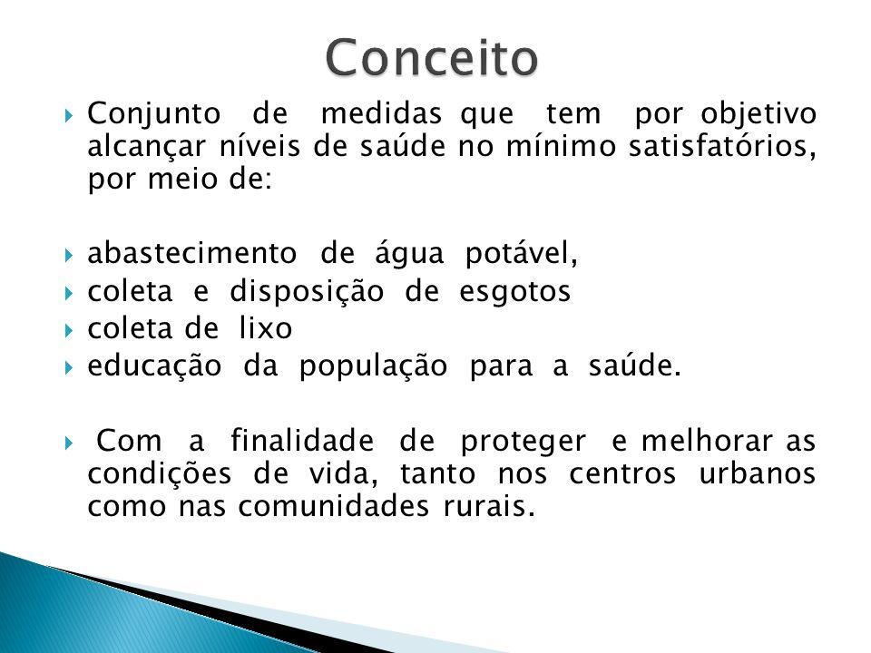 Conjunto de medidas que tem por objetivo alcançar níveis de saúde no mínimo satisfatórios, por meio de: abastecimento de água potável, coleta e dispos