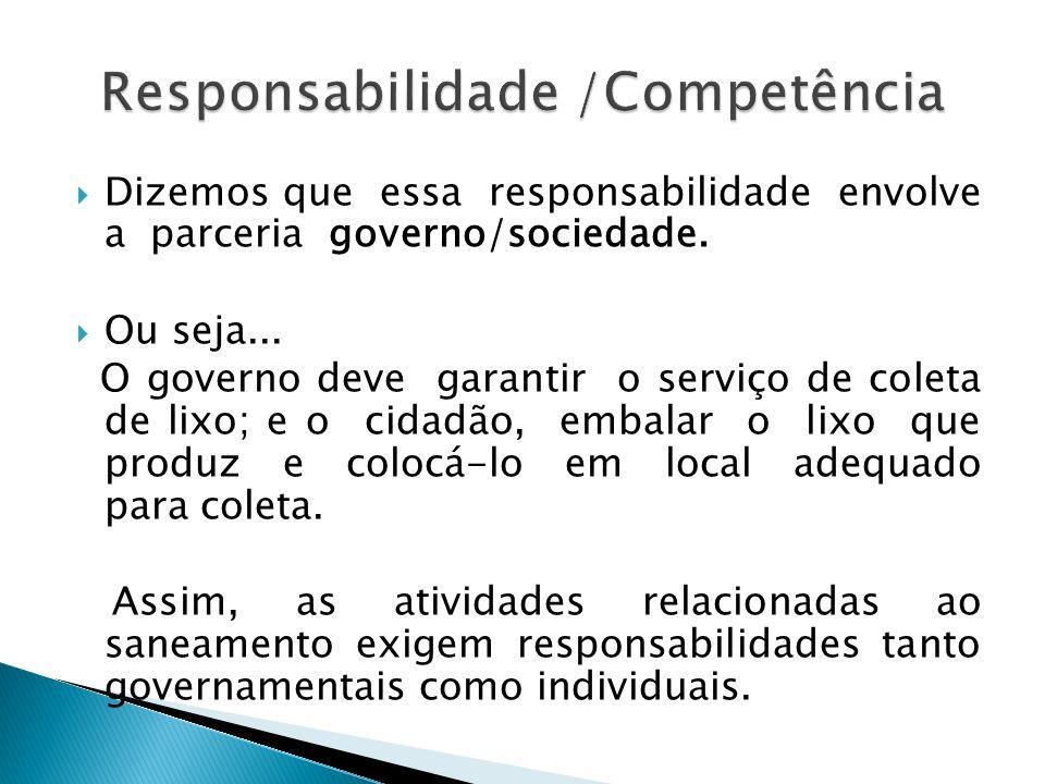 Dizemos que essa responsabilidade envolve a parceria governo/sociedade. Ou seja... O governo deve garantir o serviço de coleta de lixo; e o cidadão, e