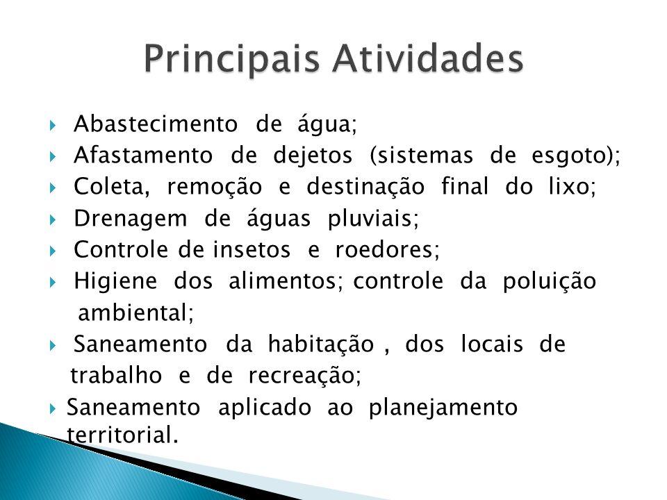 Abastecimento de água; Afastamento de dejetos (sistemas de esgoto); Coleta, remoção e destinação final do lixo; Drenagem de águas pluviais; Controle d
