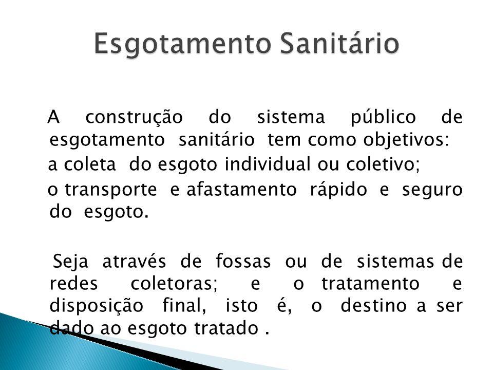 A construção do sistema público de esgotamento sanitário tem como objetivos: a coleta do esgoto individual ou coletivo; o transporte e afastamento ráp