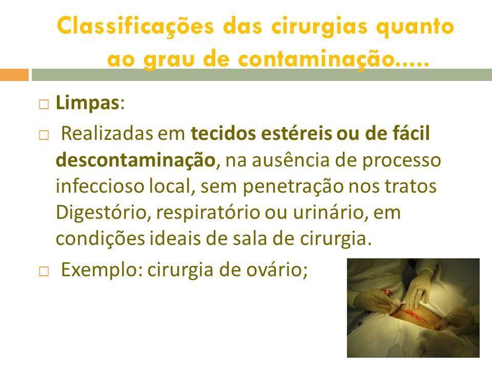 Potencialmente contaminadas: Realizadas em tecidos de difícil descontaminação, na ausência de supuração local, com penetração nos tratos digestório, respiratório ou urinário sem contaminação significativa.