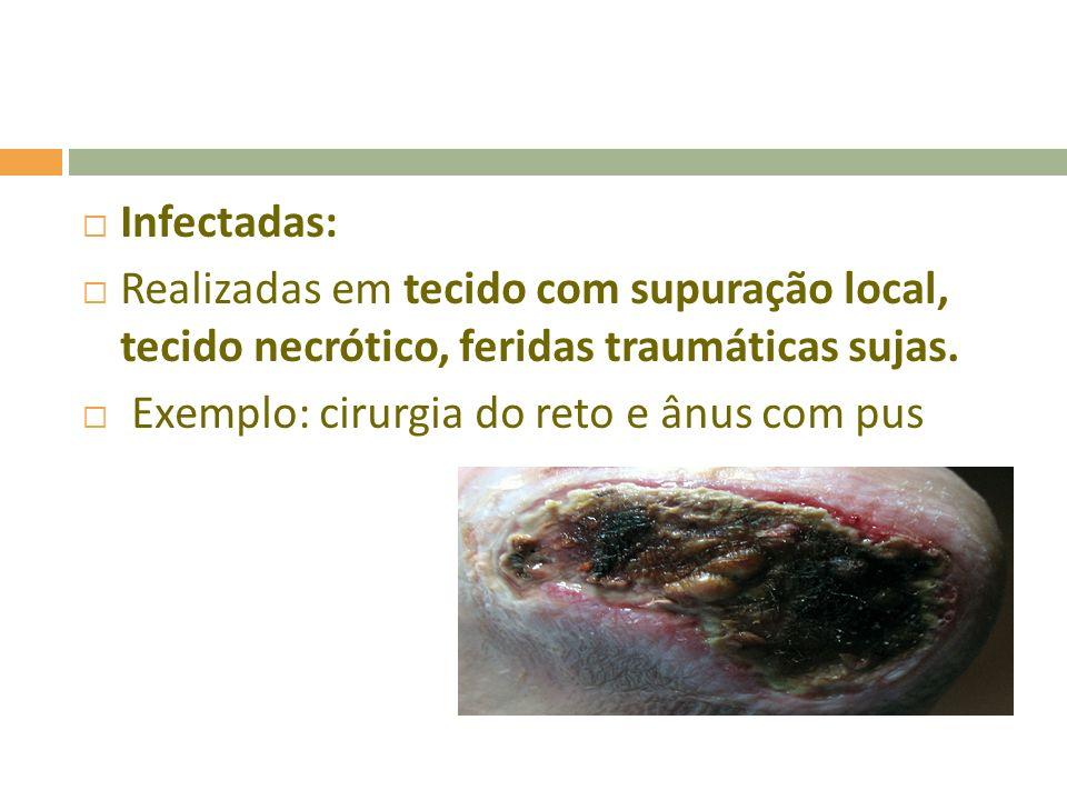 Infectadas: Realizadas em tecido com supuração local, tecido necrótico, feridas traumáticas sujas.