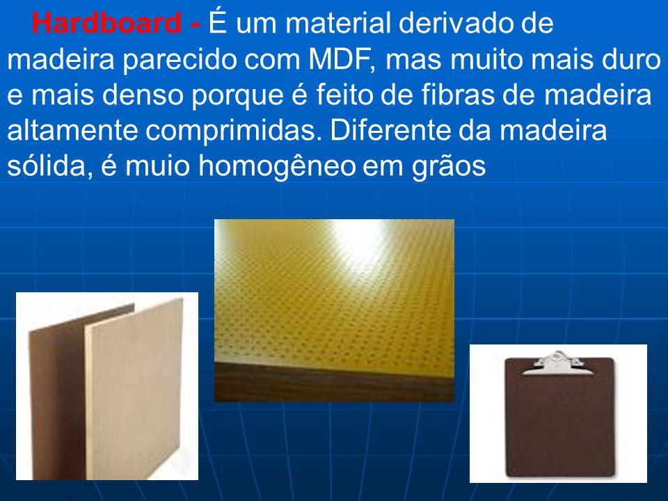 Hardboard - É um material derivado de madeira parecido com MDF, mas muito mais duro e mais denso porque é feito de fibras de madeira altamente comprim