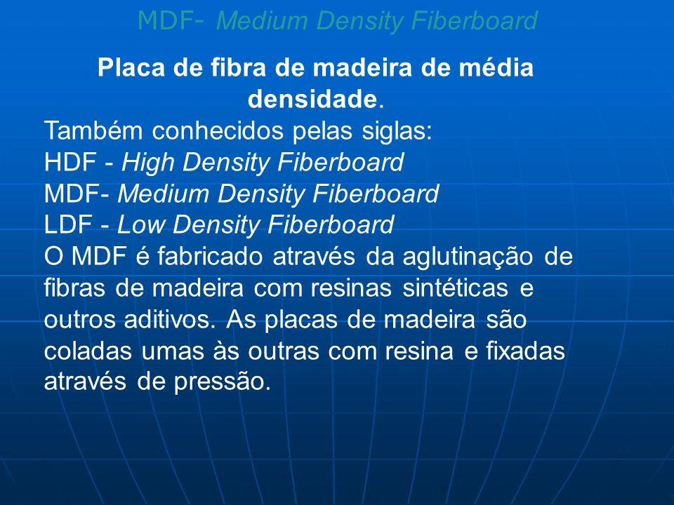 MDF- Medium Density Fiberboard Placa de fibra de madeira de média densidade. Também conhecidos pelas siglas: HDF - High Density Fiberboard MDF- Medium