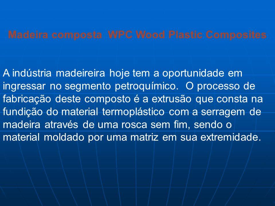 Madeira composta WPC Wood Plastic Composites A indústria madeireira hoje tem a oportunidade em ingressar no segmento petroquímico. O processo de fabri