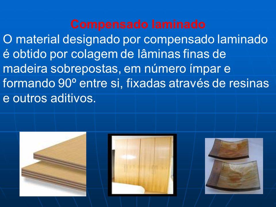 Compensado laminado O material designado por compensado laminado é obtido por colagem de lâminas finas de madeira sobrepostas, em número ímpar e forma