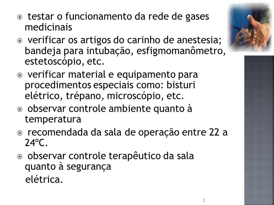 testar o funcionamento da rede de gases medicinais verificar os artigos do carinho de anestesia; bandeja para intubação, esfigmomanômetro, estetoscópi