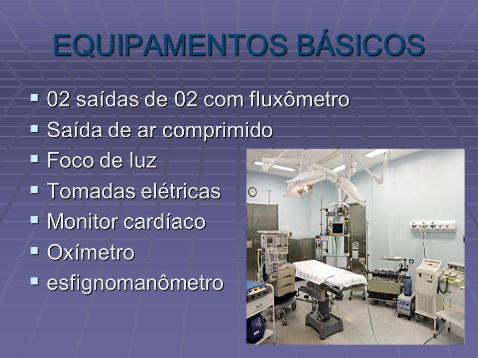 EQUIPAMENTOS BÁSICOS 02 saídas de 02 com fluxômetro 02 saídas de 02 com fluxômetro Saída de ar comprimido Saída de ar comprimido Foco de luz Foco de l