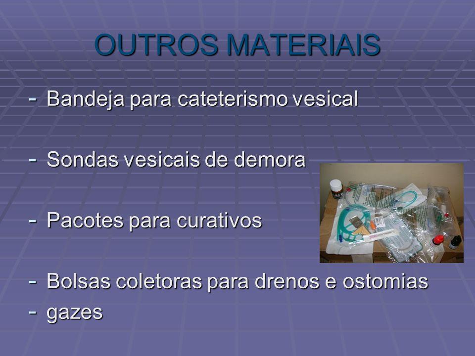 OUTROS MATERIAIS - Bandeja para cateterismo vesical - Sondas vesicais de demora - Pacotes para curativos - Bolsas coletoras para drenos e ostomias - g