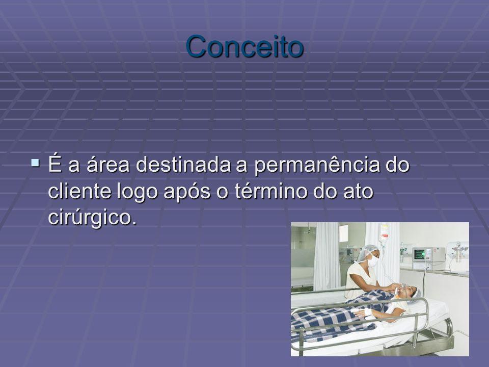 Conceito É a área destinada a permanência do cliente logo após o término do ato cirúrgico. É a área destinada a permanência do cliente logo após o tér