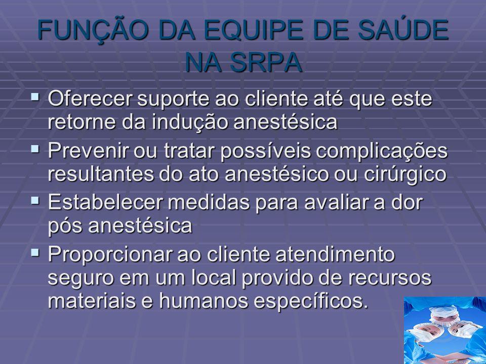 FUNÇÃO DA EQUIPE DE SAÚDE NA SRPA Oferecer suporte ao cliente até que este retorne da indução anestésica Oferecer suporte ao cliente até que este reto