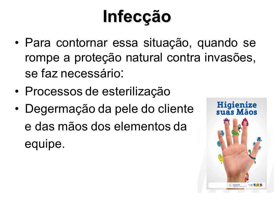 Infecção Infecção em cirurgia é o crescimento e proliferação de microorganismos (bactérias, fungos, vírus) parasitários em um organismo superior (homem) ao qual causam danos.