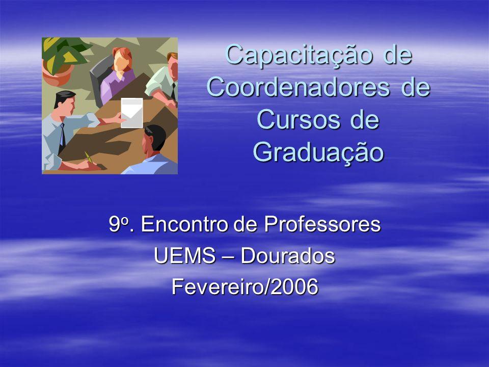 Capacitação de Coordenadores de Cursos de Graduação 9 o. Encontro de Professores UEMS – Dourados Fevereiro/2006