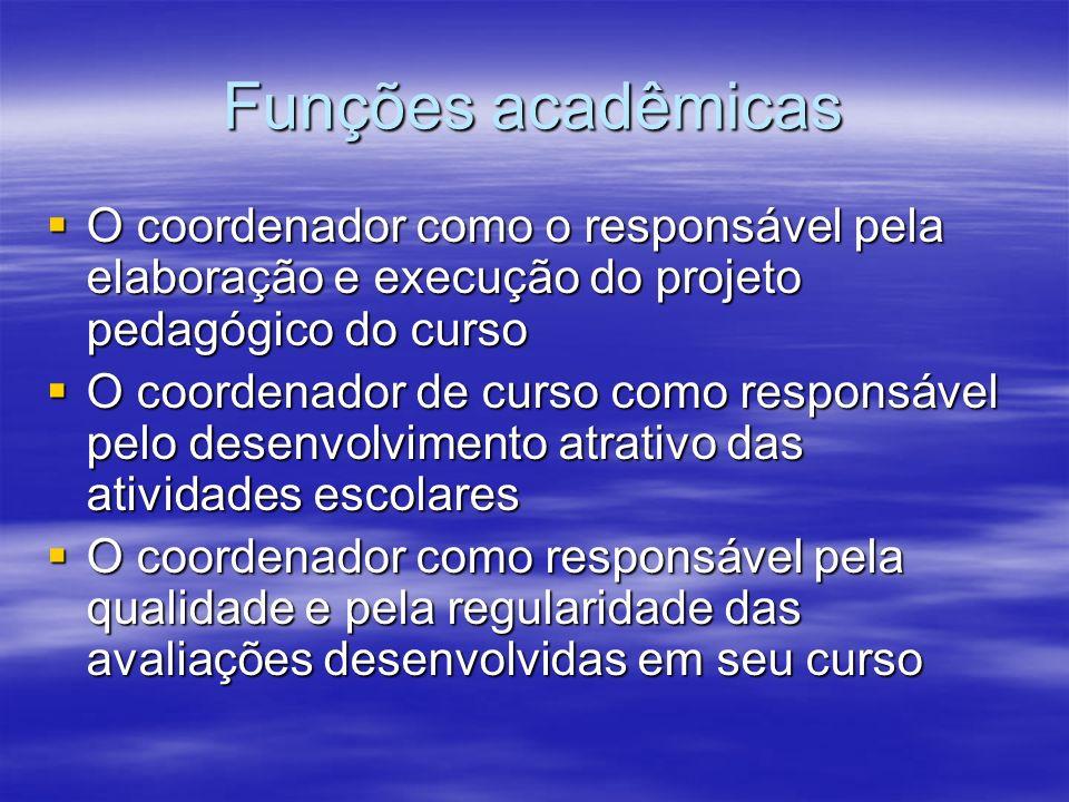 Funções acadêmicas O coordenador como o responsável pela elaboração e execução do projeto pedagógico do curso O coordenador como o responsável pela el
