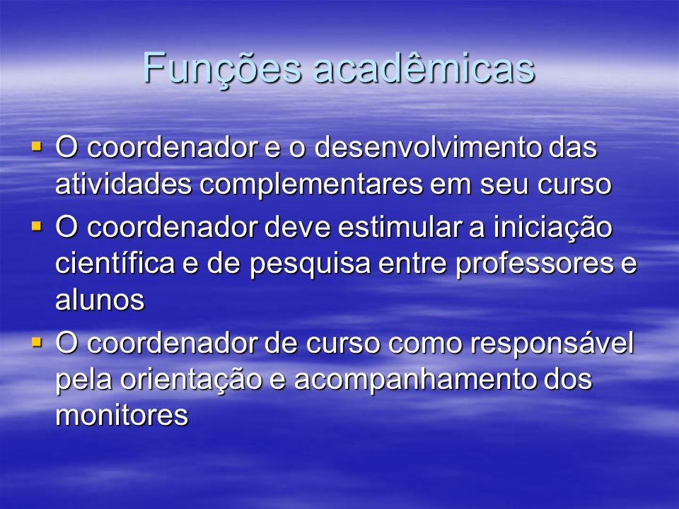 Funções acadêmicas O coordenador e o desenvolvimento das atividades complementares em seu curso O coordenador e o desenvolvimento das atividades compl