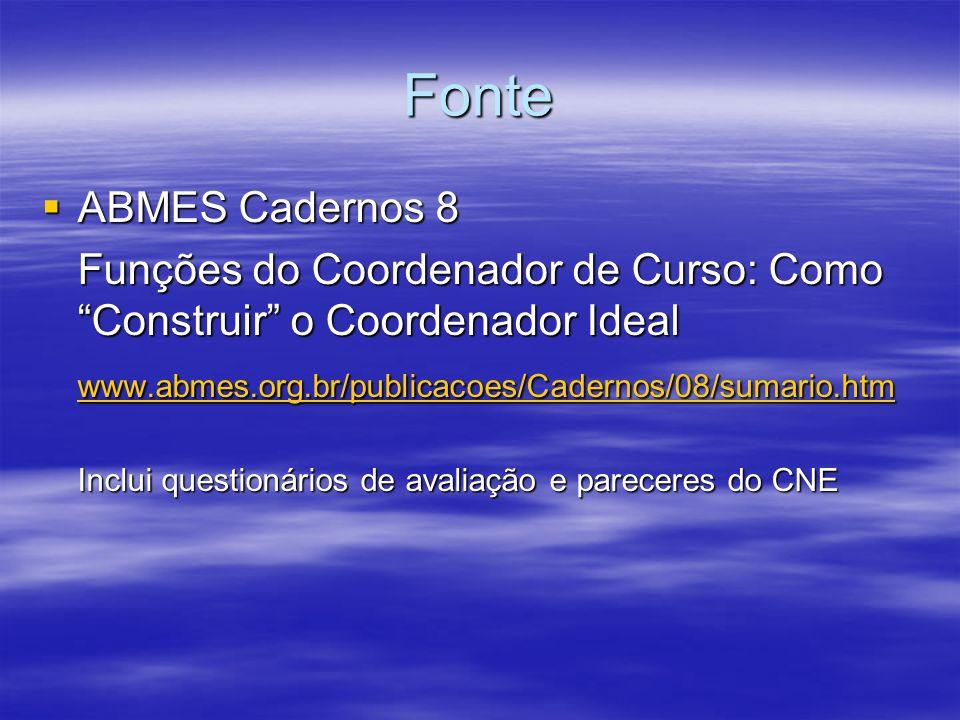 Fonte ABMES Cadernos 8 ABMES Cadernos 8 Funções do Coordenador de Curso: Como Construir o Coordenador Ideal www.abmes.org.br/publicacoes/Cadernos/08/s