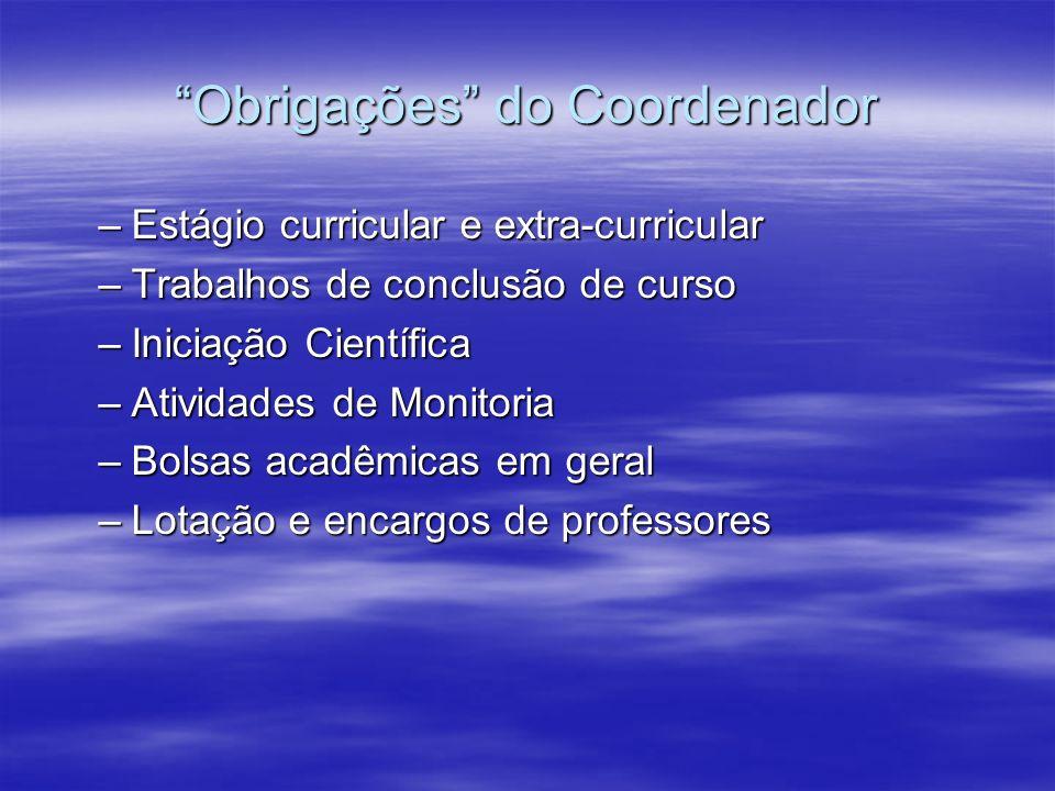 Obrigações do Coordenador –Estágio curricular e extra-curricular –Trabalhos de conclusão de curso –Iniciação Científica –Atividades de Monitoria –Bols