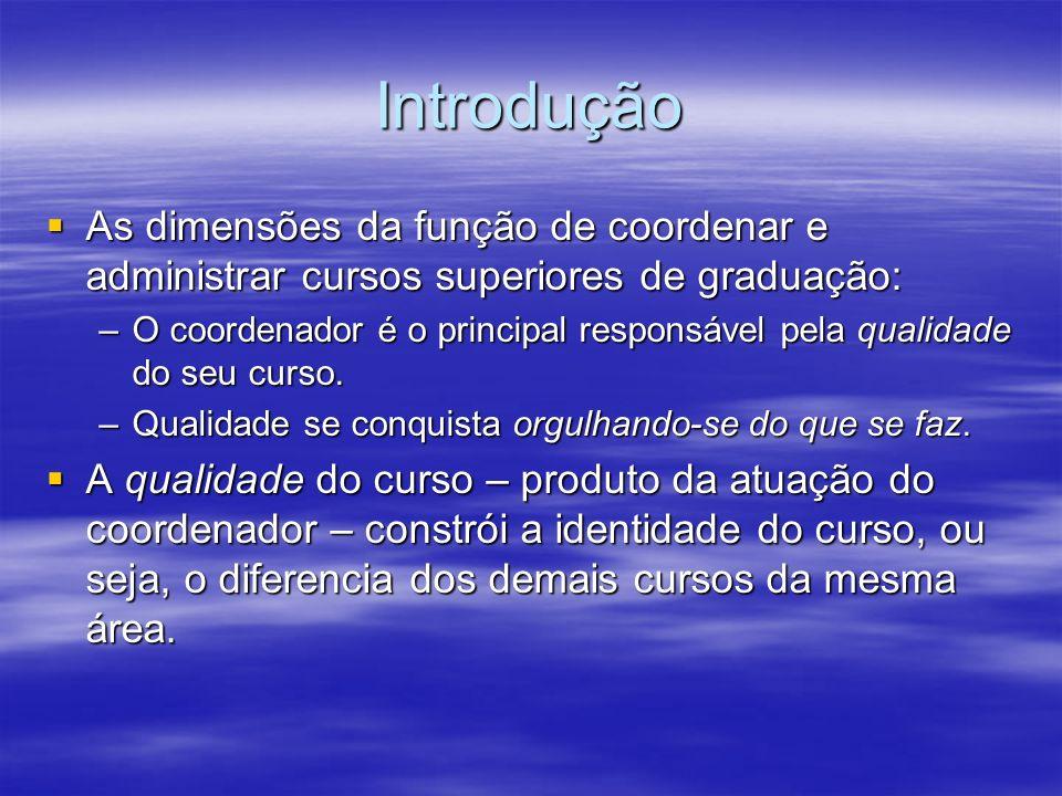 Introdução As dimensões da função de coordenar e administrar cursos superiores de graduação: As dimensões da função de coordenar e administrar cursos