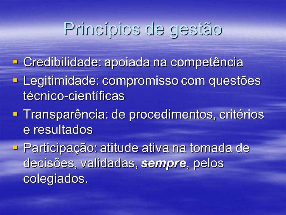 Princípios de gestão Credibilidade: apoiada na competência Credibilidade: apoiada na competência Legitimidade: compromisso com questões técnico-cientí