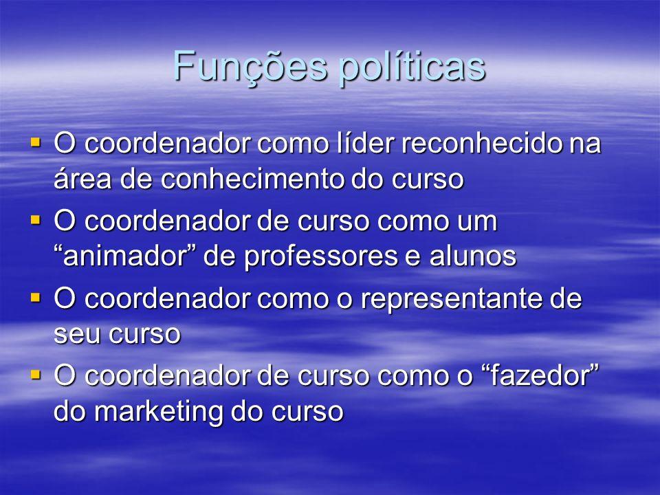Funções políticas O coordenador como líder reconhecido na área de conhecimento do curso O coordenador como líder reconhecido na área de conhecimento d
