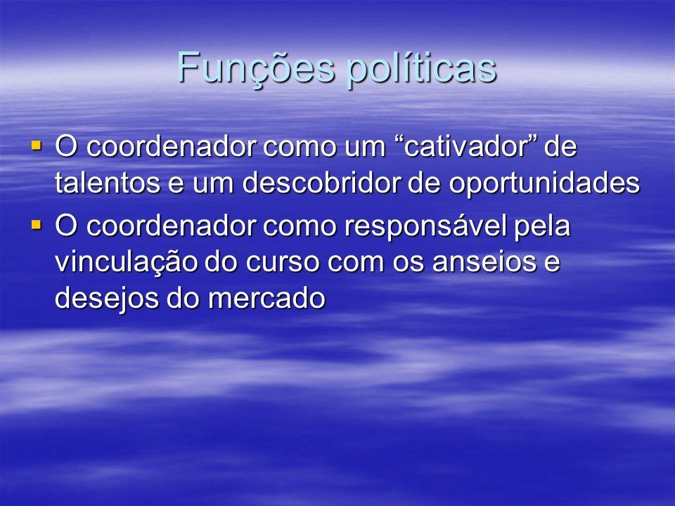 Funções políticas O coordenador como um cativador de talentos e um descobridor de oportunidades O coordenador como um cativador de talentos e um desco