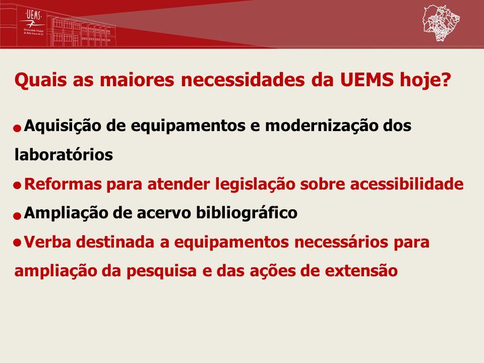 Quais as maiores necessidades da UEMS hoje? Aquisição de equipamentos e modernização dos laboratórios Reformas para atender legislação sobre acessibil