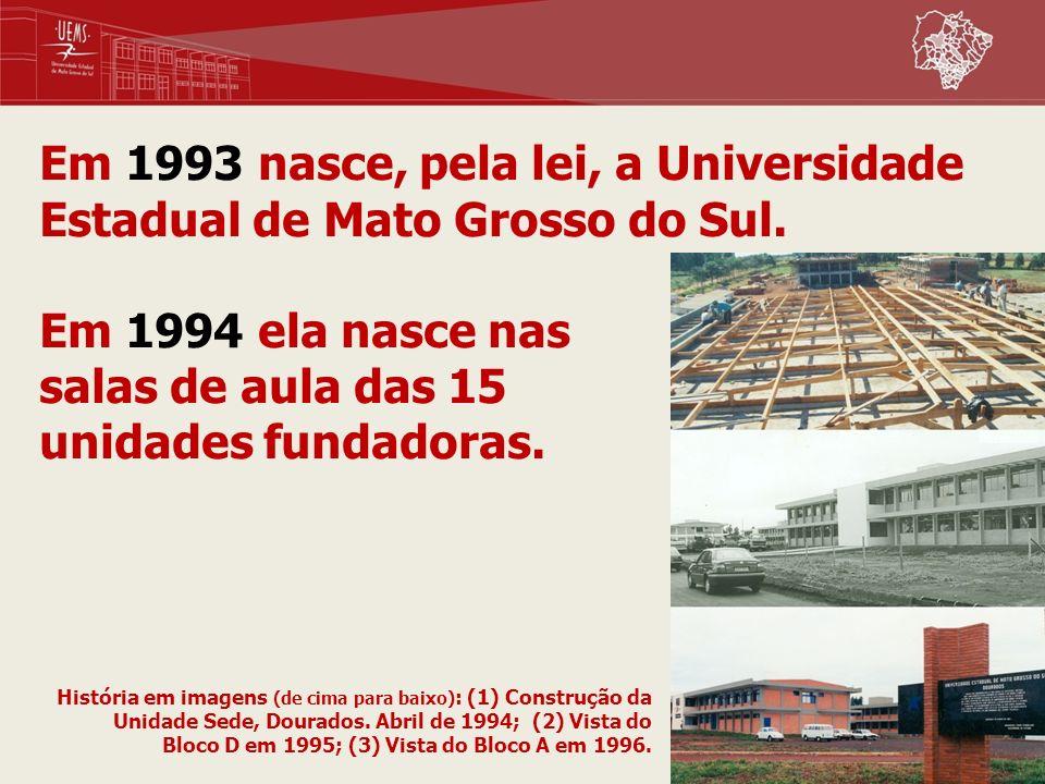 Em 1993 nasce, pela lei, a Universidade Estadual de Mato Grosso do Sul. Em 1994 ela nasce nas salas de aula das 15 unidades fundadoras. História em im