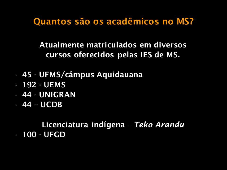 Quantos são os acadêmicos no MS? Atualmente matriculados em diversos cursos oferecidos pelas IES de MS. 45 - UFMS/câmpus Aquidauana 192 - UEMS 44 - UN