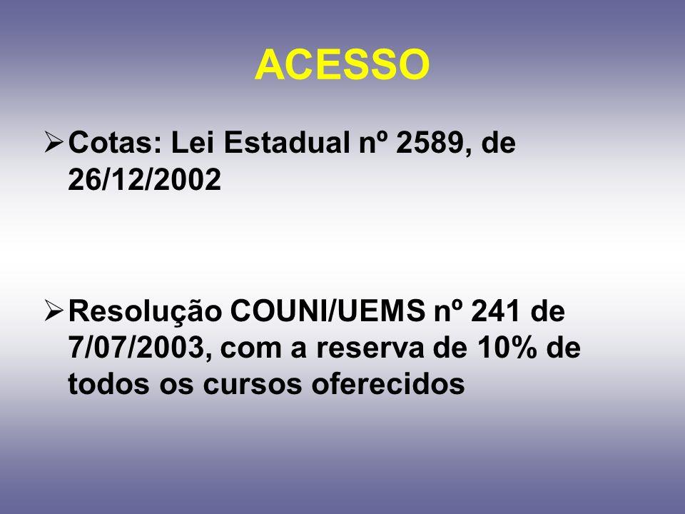 ACESSO Cotas: Lei Estadual nº 2589, de 26/12/2002 Resolução COUNI/UEMS nº 241 de 7/07/2003, com a reserva de 10% de todos os cursos oferecidos