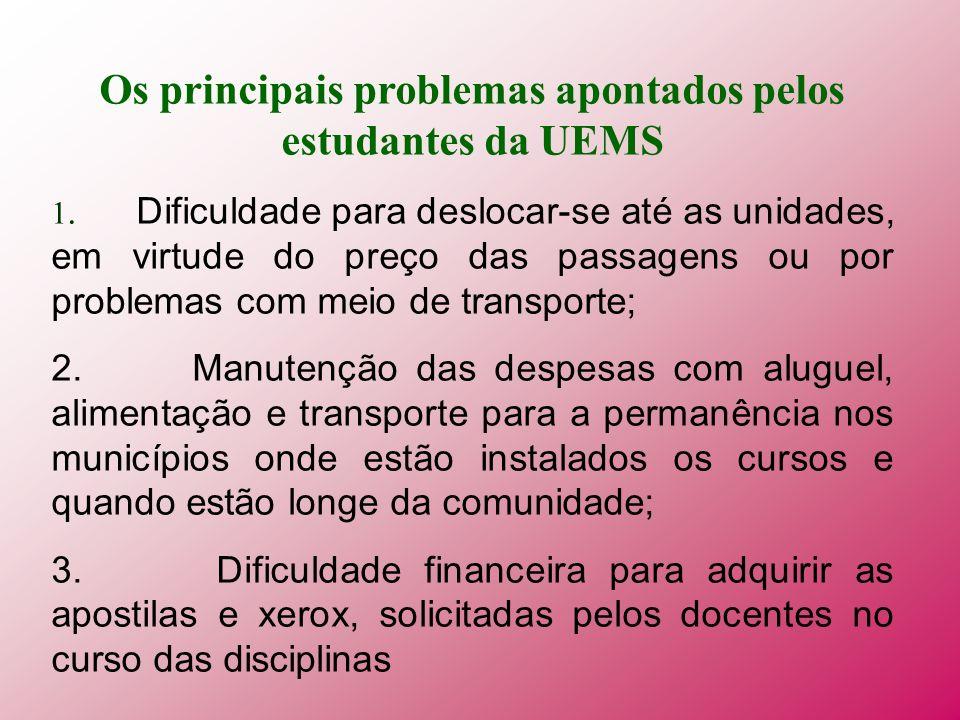 Os principais problemas apontados pelos estudantes da UEMS 1. Dificuldade para deslocar-se até as unidades, em virtude do preço das passagens ou por p