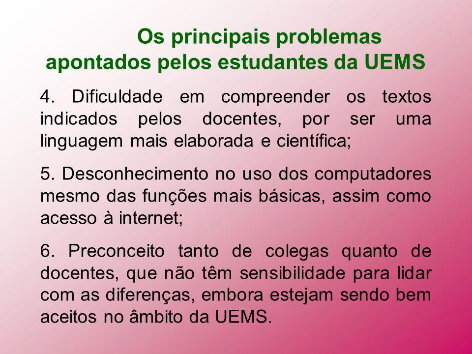 Os principais problemas apontados pelos estudantes da UEMS 4. Dificuldade em compreender os textos indicados pelos docentes, por ser uma linguagem mai