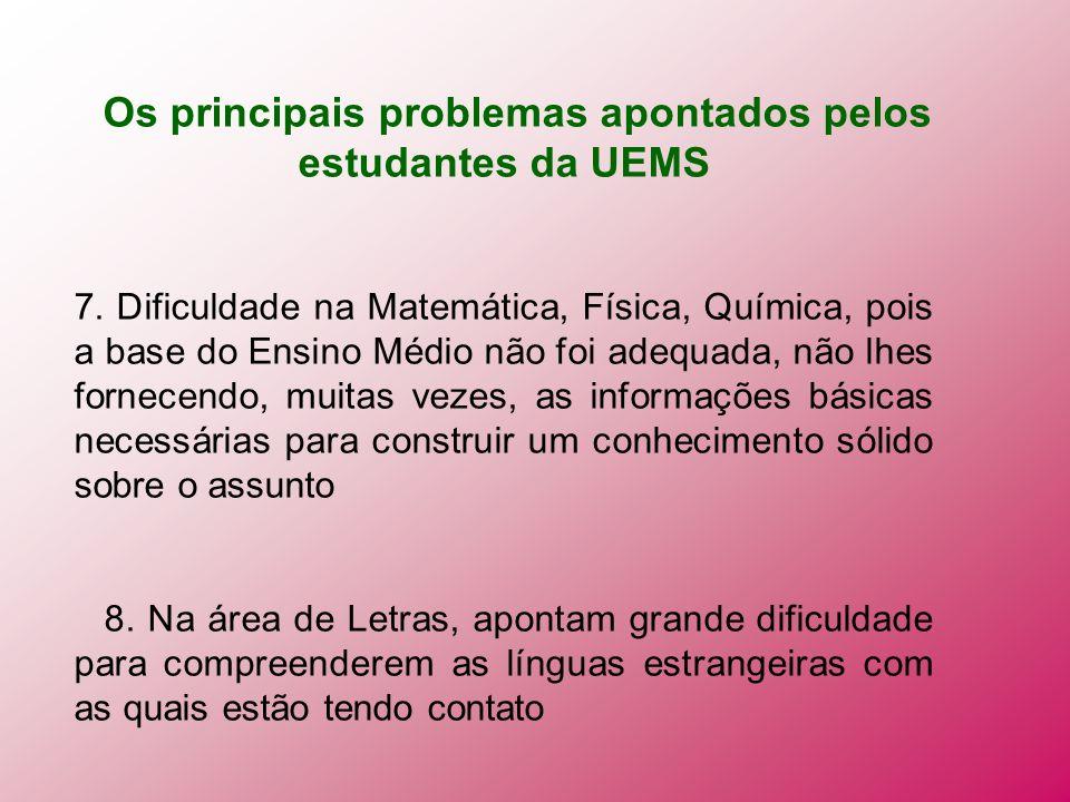 Os principais problemas apontados pelos estudantes da UEMS 7. Dificuldade na Matemática, Física, Química, pois a base do Ensino Médio não foi adequada