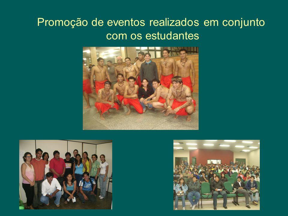 Promoção de eventos realizados em conjunto com os estudantes